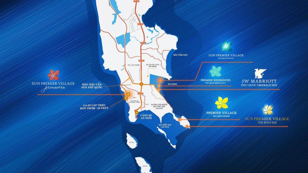 Bản đồ các dự án của Sun Group tại Phú Quốc